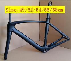 Logo Merek anda T1000 serat karbon sepeda jalan sepeda bingkai 49 cm, 52 cm, 54 cm, 56 cm, 58 cm dengan EMS express pengiriman DPS tanpa tugas