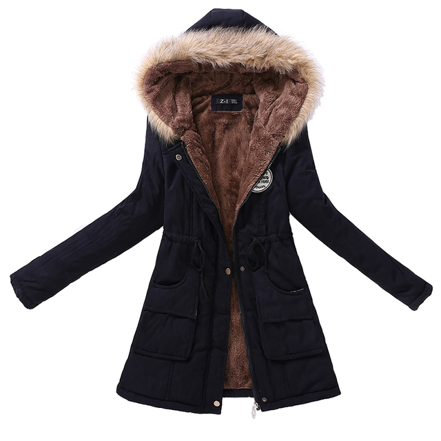 Plus Size Winter Women Casual Loose Cotton Fleece Hooded Parkas Coat Casual Slim Zip String Belt Parkas Female Vestido T063