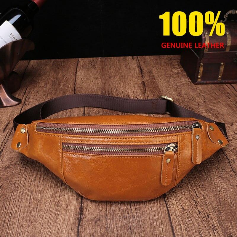 CHARA'S Brand High End Glazed Leather Waist Packs Men/women Genuine Leather Cowhide Waist Pack Glossy Unisex Waist Bag
