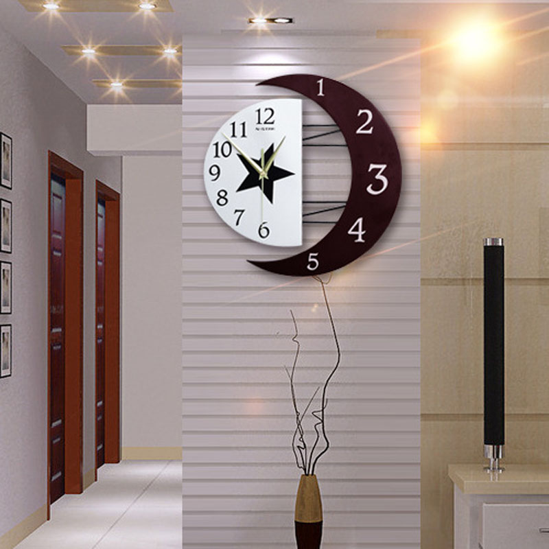 Creative large wooden silent quartz wall clock star moon for Design wall clocks for living room