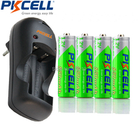 4Pcs PKCELL Pre Charged 3A Rechargeable AAA Battery And 2slot US Plug Charger LED Lights For