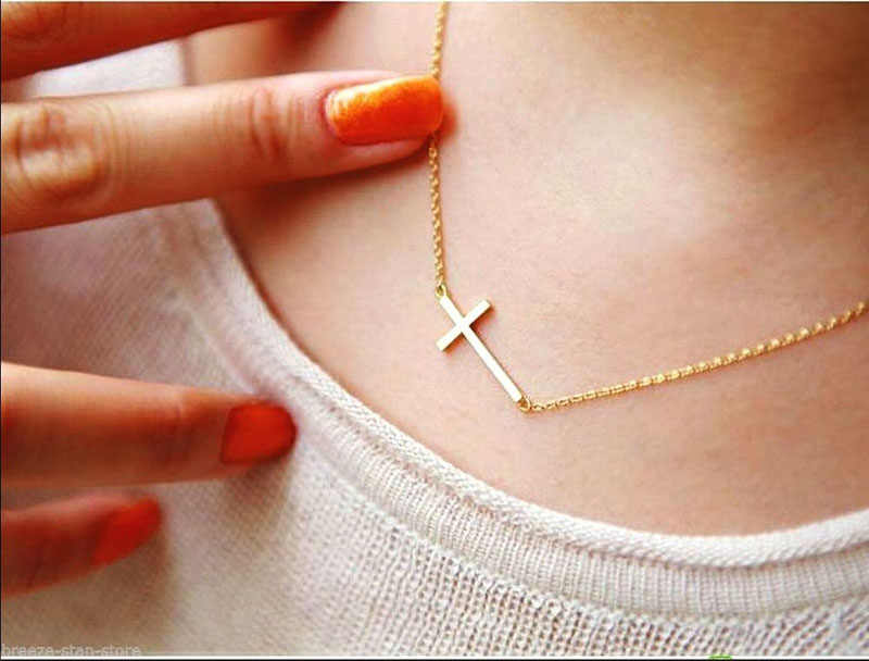 1pc Lady Horizontal Sideways Cross Gold Sliver Plated Pendant Necklace Elegant Sweet Fashion Jewelry Women Necklaces