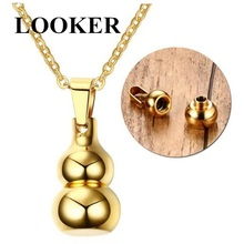 ФОТО looker loved unisex openable gourd shape stainless steel necklace cremation pendant ashes urn for memorial