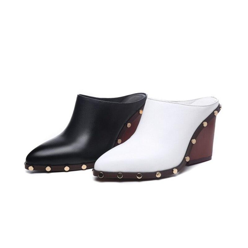 Cuñas Verano Remache Mujeres C507 white 2018 Sandalias De Mulas Moda Lisa Black Zapatillas Zapatos Orcha Alta Cuadrado Tacón IgfPSExqnw
