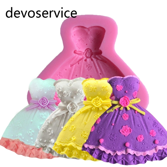 Hochzeit Kleid Silikon Seife Formen 3d Fondant Kuchen Dekorieren