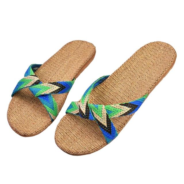 Summer Slippers For Women Chain Slides Home Floor Shoes Flax Cross Belt Silent Sweat Slippers Women Sandals 4
