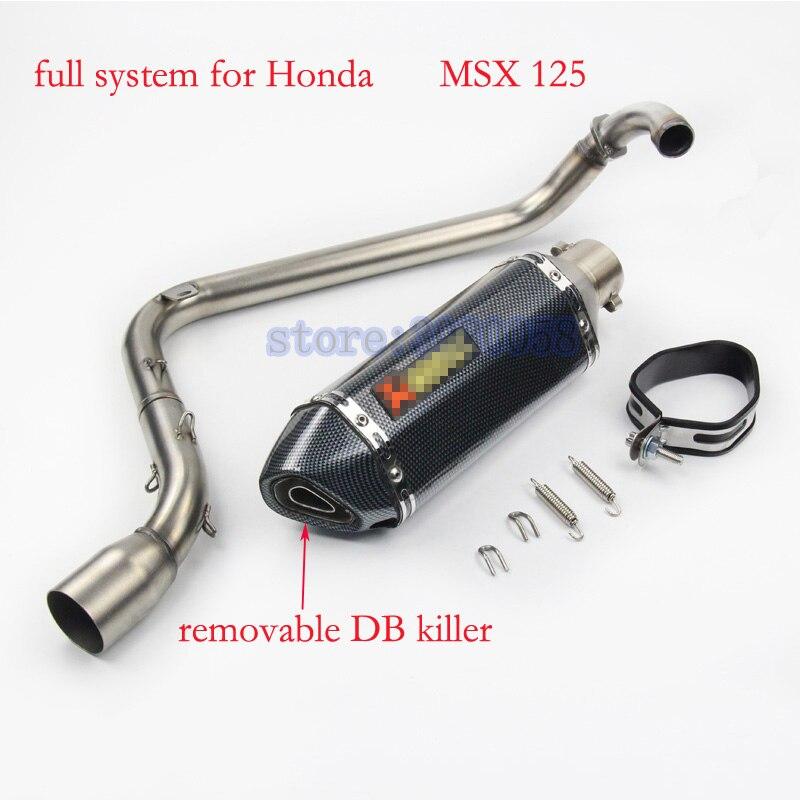 MSX 125 Motocicleta Modificado Silenciador do Escape Conectar Tubo de Marcação A Laser em aço inoxidável Com DB Assassino PARA HONDA MSX125
