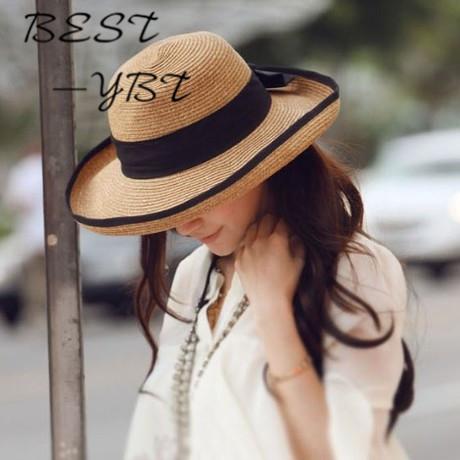 La Nueva Miss Xia Ji Modelos de Explosión Al Aire Libre UV Sombrero para el Sol Sombrero de Paja Arco Peppers