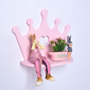 Image 2 - 하트 핑크 크라운 스타일 나무 배치 프레임 홀더 욕실 스토리지 선반 벽 마운트 유형 랙 침실 물건 단일 레이어