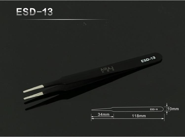 1vnt 11,5cm nerūdijančio plieno pincetai Tikslūs antistatiniai - Įrankių komplektai - Nuotrauka 4