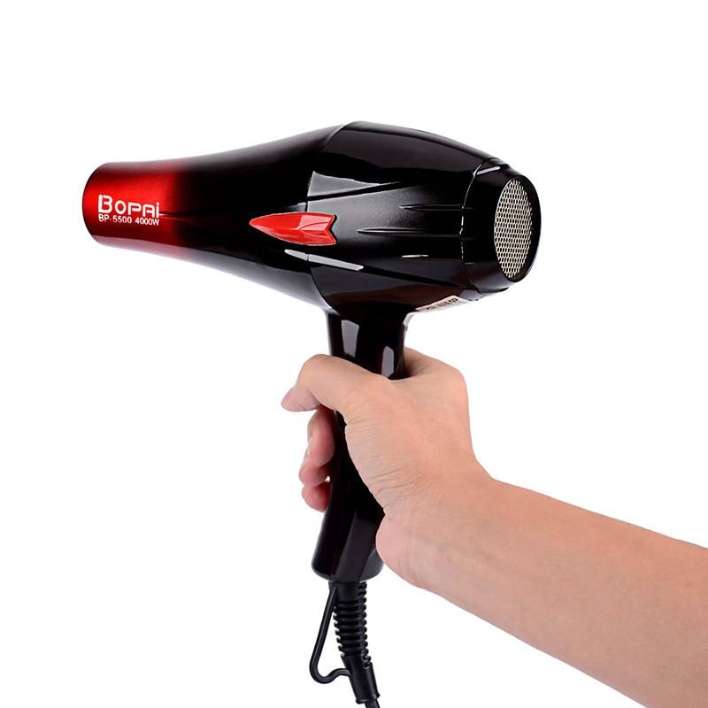 BoPAi מקצועי 4000 w סופר כוח מהיר סטיילינג התאמת חם וקר מייבש שיער לפוצץ מייבש עם 2 חרירים עבור סלון p42