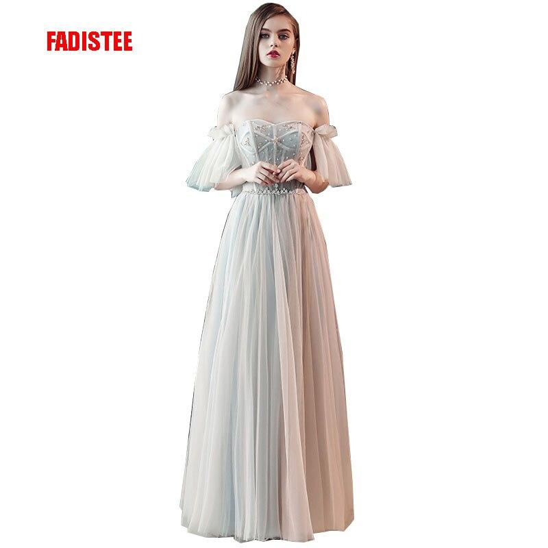 FADISTEE New Arrival Modern Party Dress Evening Dresses Prom Crystal Vestido De Festa Floor Length Pleat Elegant Frock Style
