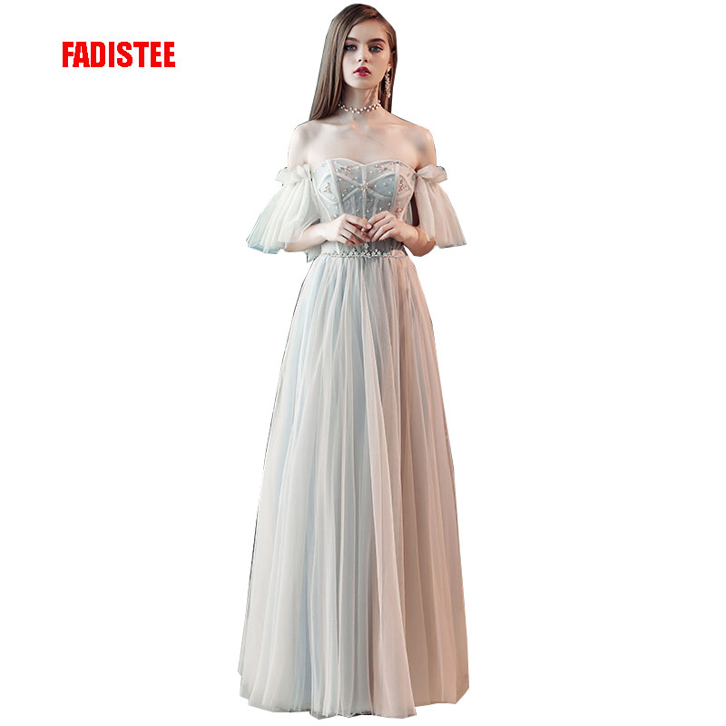 FADISTEE New arrival modern party   dress     evening     dresses   prom crystal Vestido de Festa floor length pleat elegant frock style