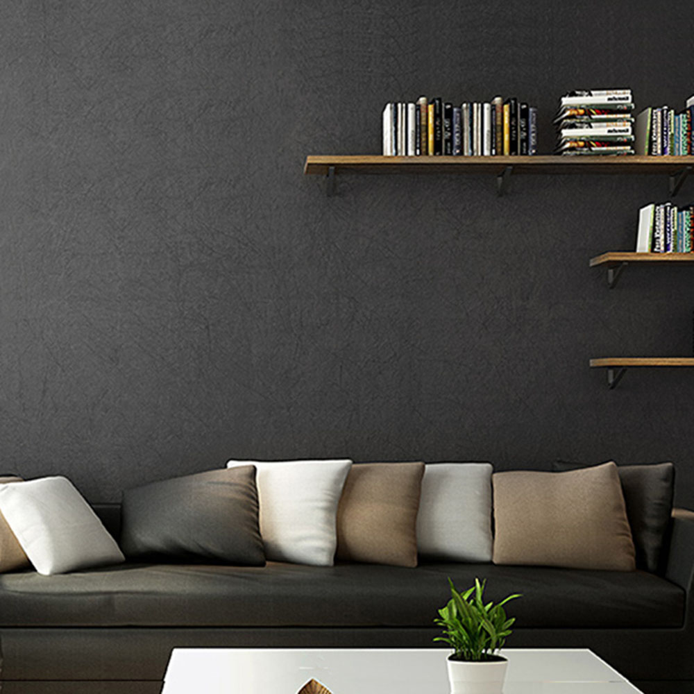 HaokHome Modern Solid Color Non Woven Wallpaper Black Modern Silk Wallcovering Simple Wall Paper for Livingroom Bedroom Decor chic simple letters pattern wall sticker for bedroom livingroom decoration