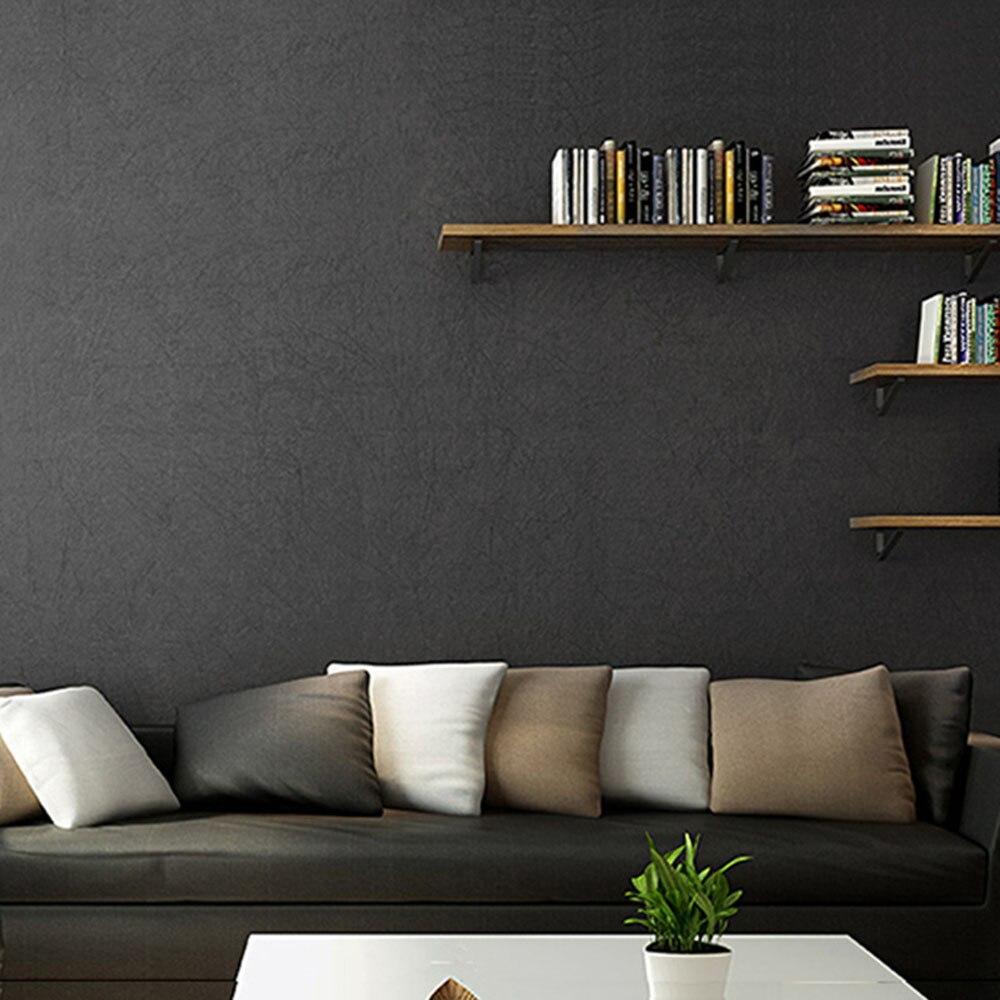 HaokHome moderne solide couleur Non tissé papier peint noir moderne soie revêtement mural Simple papier peint pour salon chambre décor