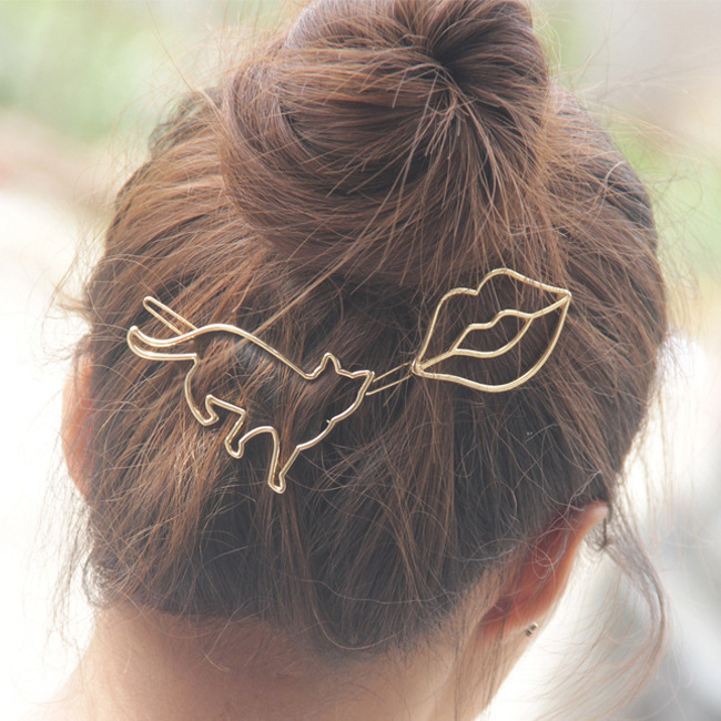 2 Pcs Hot Sale Fashion Elegant Women Gold Silver Cat Hairpin Hair Clip Barrettes Christmas Party Vacation Hair Accessories