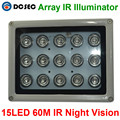 Larga distancia 100 M 850nm infrarrojos 15 unids asistente de luz de alta potencia LED IR iluminador Infrarrojo CCTV LPR ANPR cámara