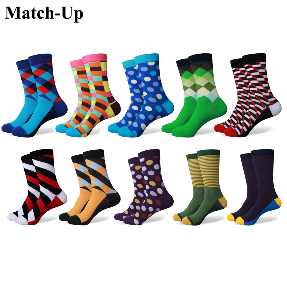 Match-Up Mens Funny Colorful Combed Cotton stripe Socks  Casual  Dress Wedding Socks(10 Pairs/lot)