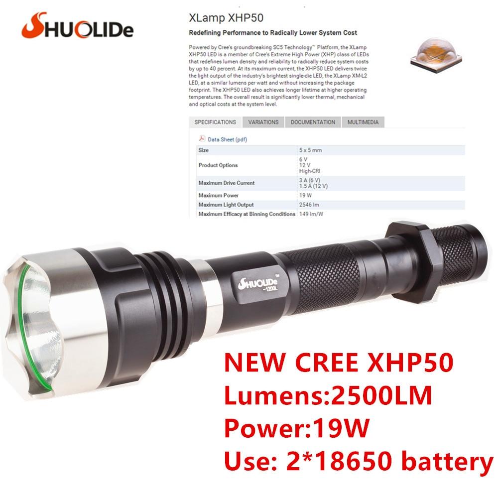 SHUO LI DE 2500 Lumens Nieuwe CREE XHP50 zaklamp LED-zaklamp Gebruik - Draagbare verlichting
