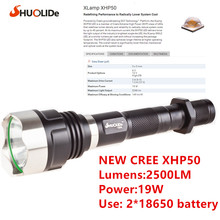 SHUO LI DE  2500 Lumens New  CREE XHP50 Flashlight   LED Torch  Use 2 x 18650 Battery