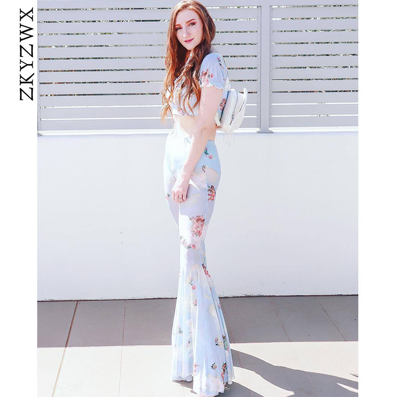 ZKYZWX Streetwear Mesh Flare   Pants   Sexy See-Through Transparent Womens Summer Trousers High Waist Angel Printted   Wide     Leg     Pants