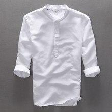2016 neue Herrenhemden Drei Viertel Ärmeln Feste Leinen Kleid Shirt Männer Stehkragen Qualität Casual Shirts Man Freies verschiffen