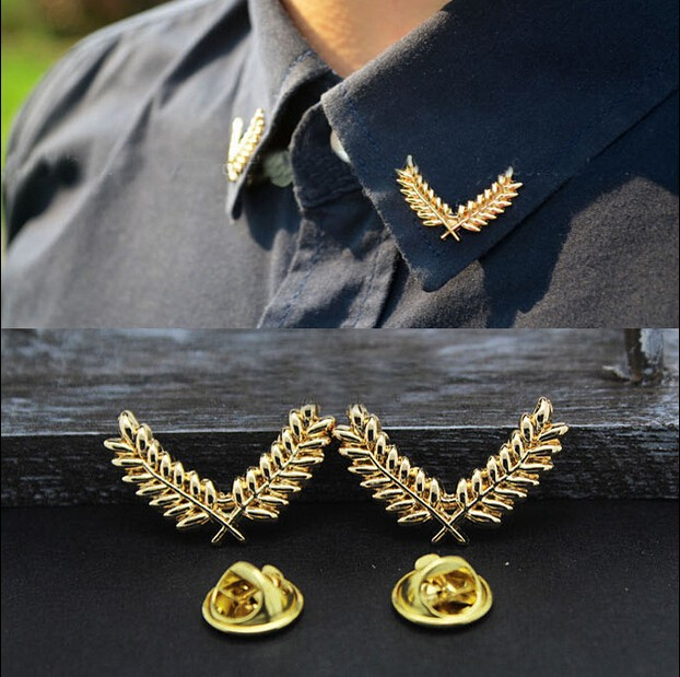 XZ002  Korean fashion jewelry suit shirt collar wheat ear brooch three-dimensional metal collar buckle brooch couples jewelry