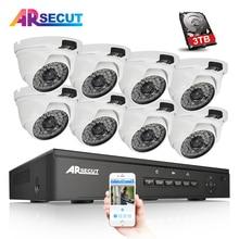 2017New Plug And Play Kit CCTV 8CH NVR 48 V POE 1080 P HD 48 IR Visión Nocturna Al Aire Libre + Cubierta Domo POE IP Sistema de Cámara 3 TB HDD