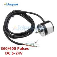 DC 5V-24V 360 600 Pulse Incremental Optical Rotary Encoder AB Two-phase Coupling 6 Pulse Optional NPN open collector output