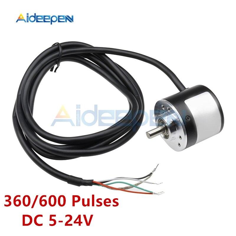 DC 5 V-24 V 360 600 Pulso Codificador Rotativo Óptico Incrementais AB Dois-fase de Acoplamento 6 Pulso opcional saída de coletor aberto NPN