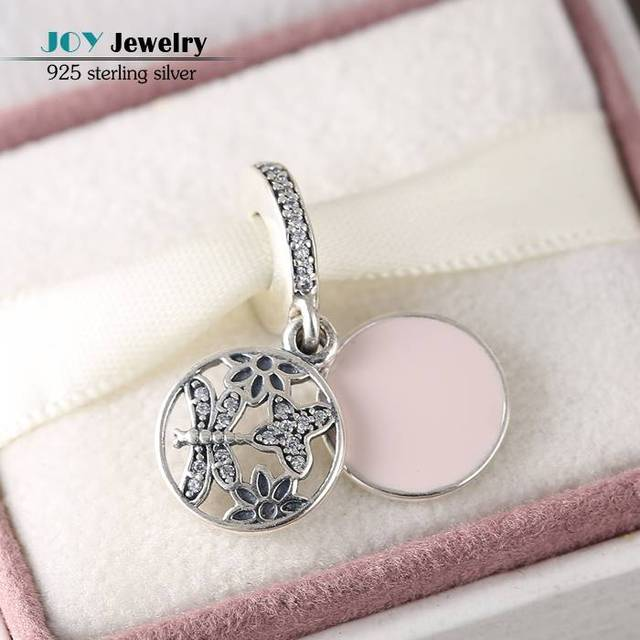Fit Pandora Bracelet 925 Sterling Silver Springtime Enamel CZ Flower Butterfly Dragonfly Pendant Charms Beads For Jewelry Making
