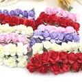 Livre Shipping144pcs/lot 1-1.5 cm cabeça Multicolor Flor de Papel Tronco Bouquet/Fio/Scrapbooking Rosa Artificial flores