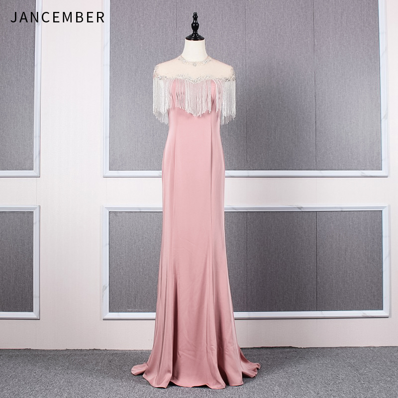 JANCEMBER 2019 Summer mermaid evening gown Illusion O Neck Tassel Cap Sleeve Zipper Back Sequin sexy mermaid evening dresses New