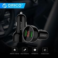 ORICO UPK-2U 15.5W LED Display USB Car Charge ABS Mini Dual Charging Phone Charger Car-Charger for iPhone 7 8 Plus Samsung