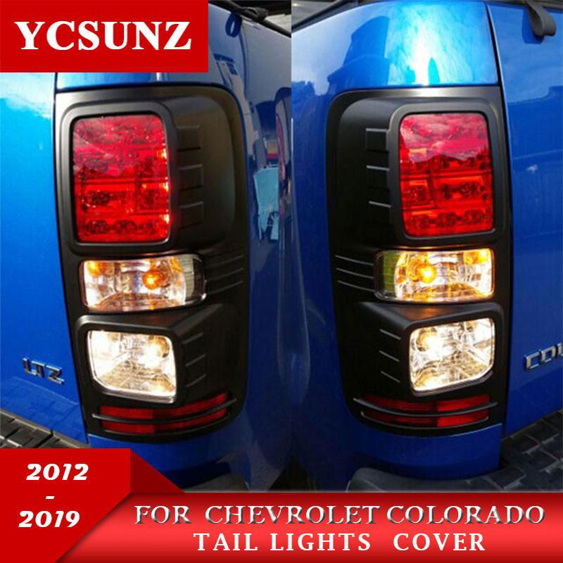 Preto luzes da cauda guarnição abs preto luz traseira cobre para chevrolet colorado holden chevy colorado 2012-2019