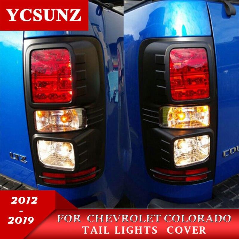 Schwarz Schwanz Lichter Trim ABS Schwarz Hinten Licht Abdeckungen Für Chevrolet Colorado Holden Chevy Colorado 2012-2019