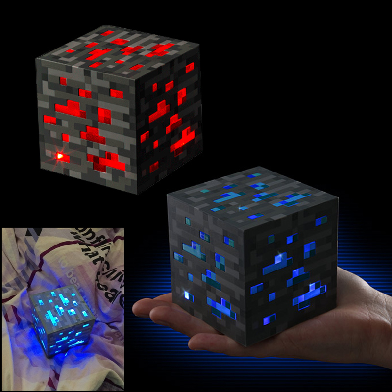 Minecraft Light Up Redstone Ore Square Leker Minecraft Night Light LED Figur Leker Light Up Diamond Ore Kids Gifts Leker #E