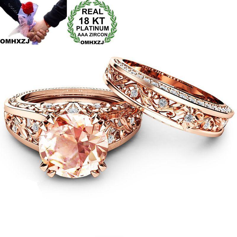 OMHXZJ Wholesale European Fashion Woman Man Party Wedding Gift Luxury White Champagne AAA Zircon 18KT Rose Gold Ring Set RR531