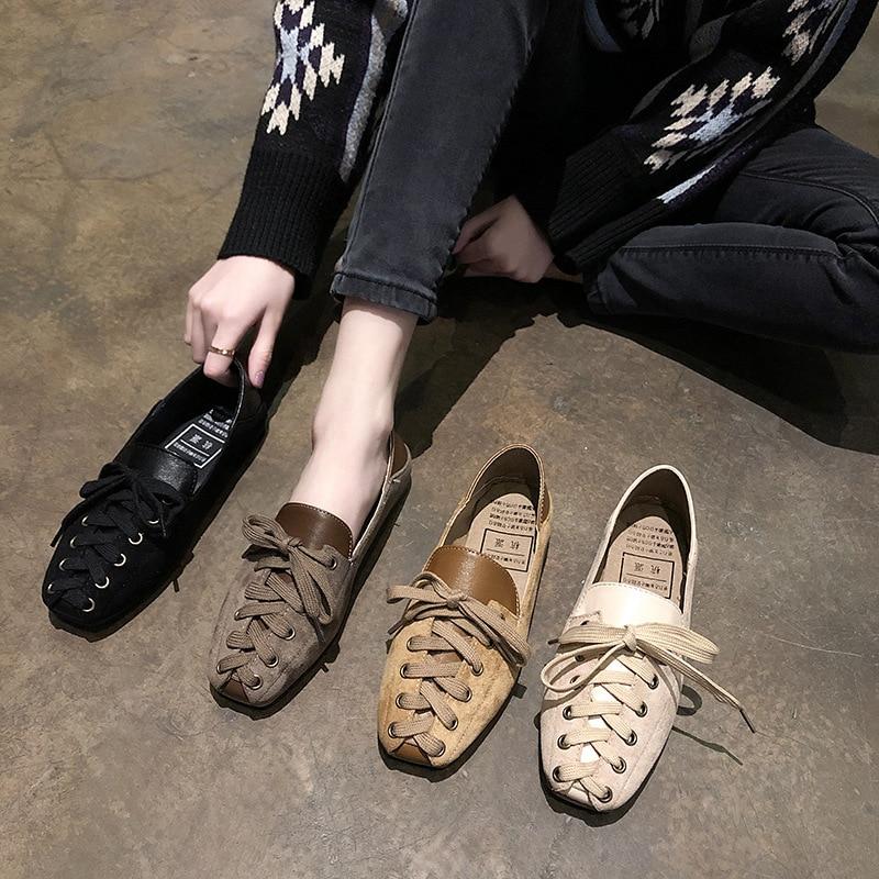 2a0d23482 Planos Casuales Nueva Zapatos Color Estilo Mujeres Retro Tendencia marrón  De ¡2019 Sólido negro Beige ...