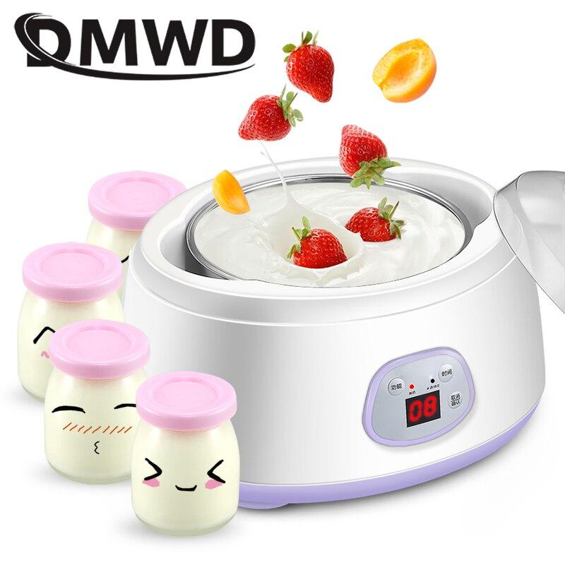 DMWD Electric Yogurt Maker Leben Fermenter Automatic Multifunction Stainless Steel Liner Natto Rice Wine Yoghurt Machine 4 Cups