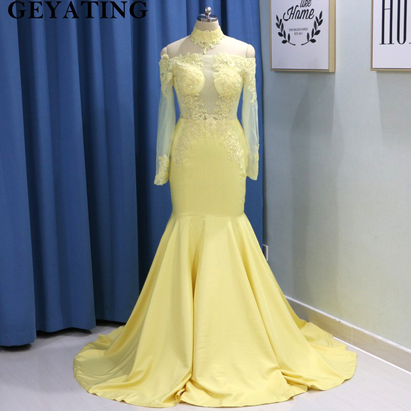 Yellow Mermaid Plus Size Prom Dresses with Long Sleeves High Neck Off Shoulder Black Girls African Women Formal Evening Dress