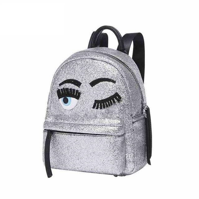 bc93403468304 Błyszczące Srebrne Kobiety Plecak Ins Gwiazdy Blogger Chiara Ferragni  Ulubionym Plecak Śliczne Oczy Plecak Plecak Torby