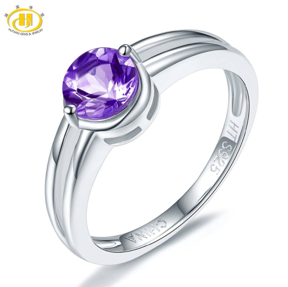 Hutang African Aemthyst Women's Ring Pure 925 Sterling Silver Natural Purpel Gemstone Simple Fine Elegant Jewelry New Arrival