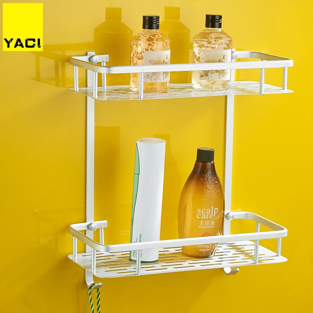 Wall shelf New Bathroom Shelves Space Aluminum 2 Tiers Corner Shelf Shower Caddy Storage Shampoo Basket Wall Kitchen Holder