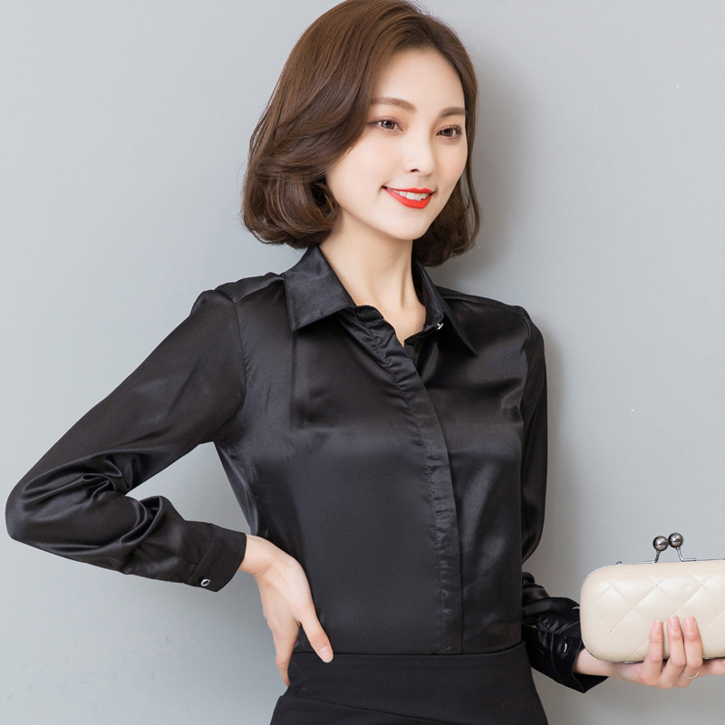 0269db6015c Women Satin Silk Long Sleeve Button Down Shirt Formal Work Business Silky  Shiny Blouse Top Elegant Fashion S 3XL 7 Colors-in Blouses   Shirts from  Women s ...