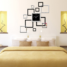 Oryginalny Zegar na Ścianę 3D Naklejany Kwadraty Hit