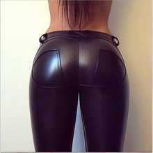 Women's Spring New Brushed High Waist PU Leather Pants Black Leggings Female Shinny Pencil Pants Elastic Trousers Female Clothes цены