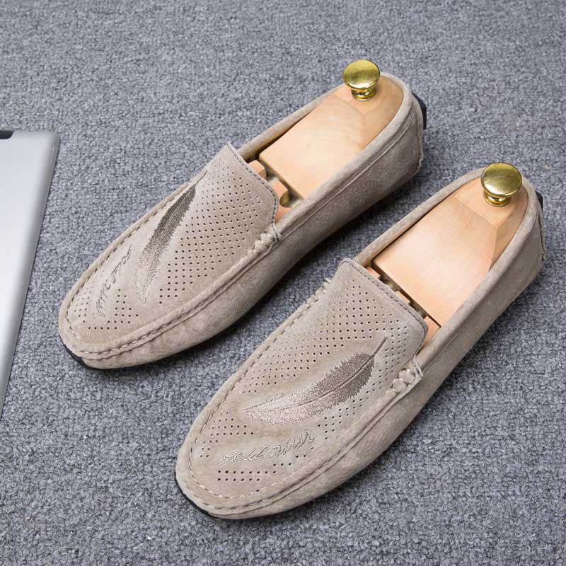 Mens Penny Loafers Driving Shoes For Men Moccasins Spring Summer Cow Suede Leather Breathable Casual Flat Nubuck Slip-On Light
