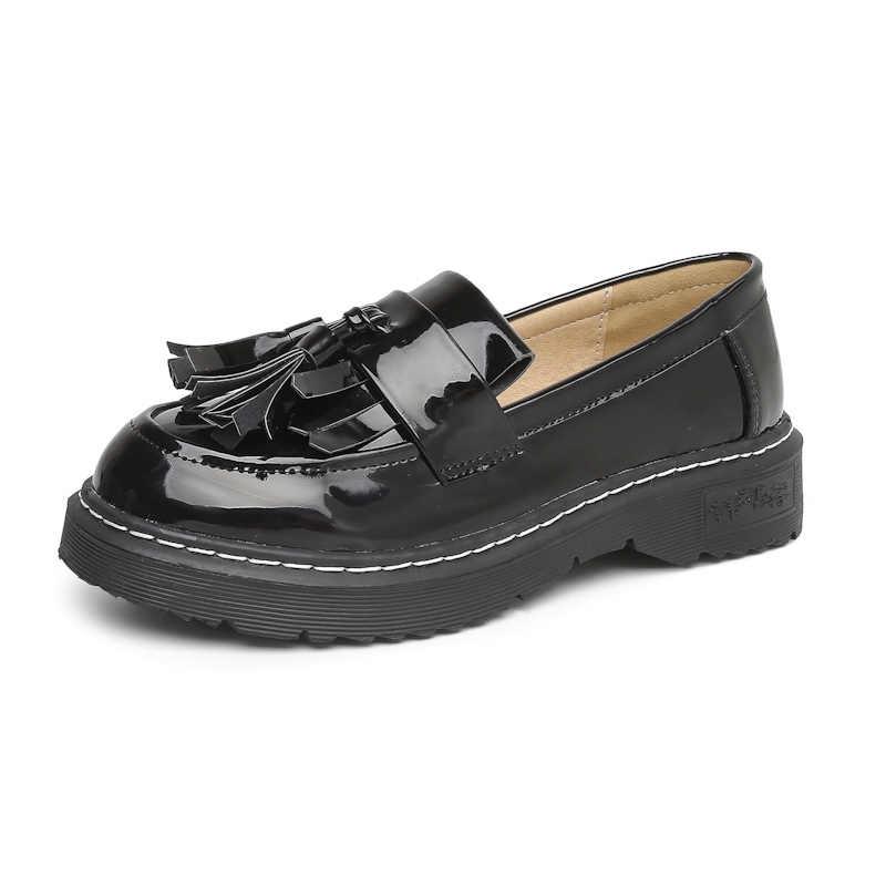 Vrouwen Schoenen Loafers Rode Vrouw Schoenen 2018 Herfst Platform Schoenen Voor Vrouwen Kwasten Platte Schoenen Casual Dames Zwart Pu Lederen flats