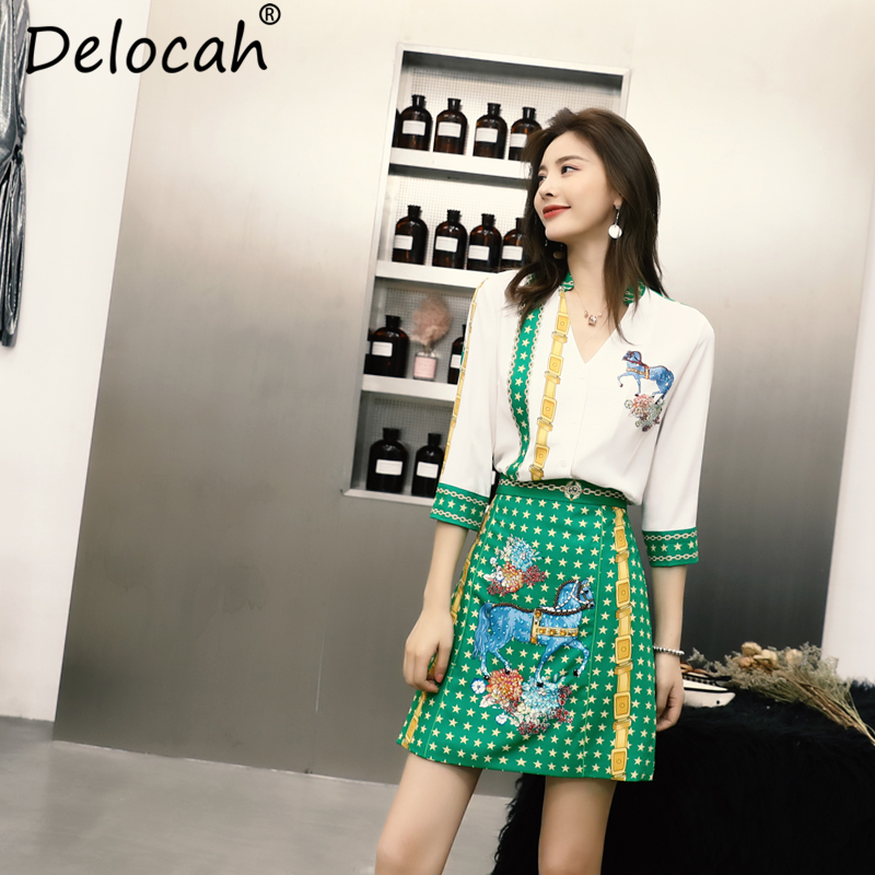 Delocah 2019 여성 여름 정장 활주로 패션 싱글 브레스트 v 넥 셔츠와 캐주얼 동물 프린트 짧은 스커트 두 개 세트-에서여성 세트부터 여성 의류 의  그룹 1